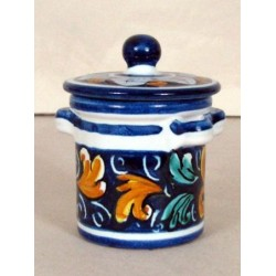 Barattolo con coperchio h. 10 cm - Fiore Blu