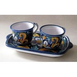 Caffé  per due con vassoio - Fiore Blu