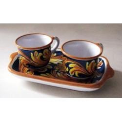Caffé  per due con vassoio - Ornato Giallo e Blu