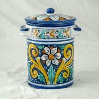 Barattolo con coperchio h. 16 cm - Fiore Blu