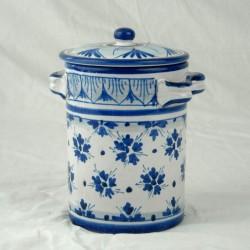 Barattolo con coperchio h. 16 cm - Fiorellini Blu