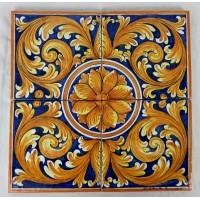 Pannello 40 x 40 cm  - Ornato Giallo e Blu