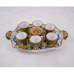 Servizio da caffé per sei su vassoio barocco - Ornato blu