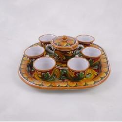 Servizio da caffé con vassoio quadrato - Ornato bordeaux