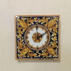 Orologio murale  20 x 20 cm - Ornato Giallo e Blu