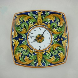 Orologio murale quadrato con lati curvi - Ornato blu