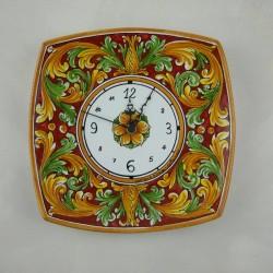 Orologio murale quadrato con lati curvi - Ornato bordeaux