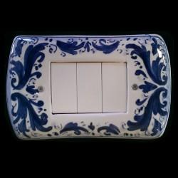 Copri interruttori decorato - Settecento Blu