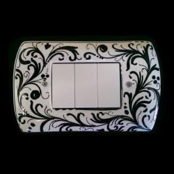 Copri interruttori decorato - Bianco Nero