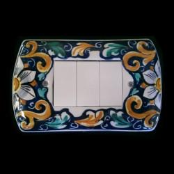 Copri interruttori decorato - Fiore Blu