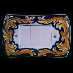 Copri interruttori decorato - Ornato Giallo Blu