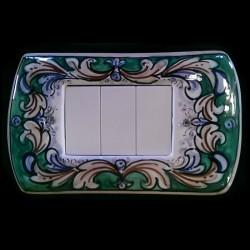 Copri interruttori decorato - Ornato foglie Azzurro-Marrone Fondo verde