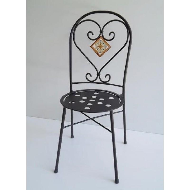 Sedia in ferro battuto con seduta Tonda