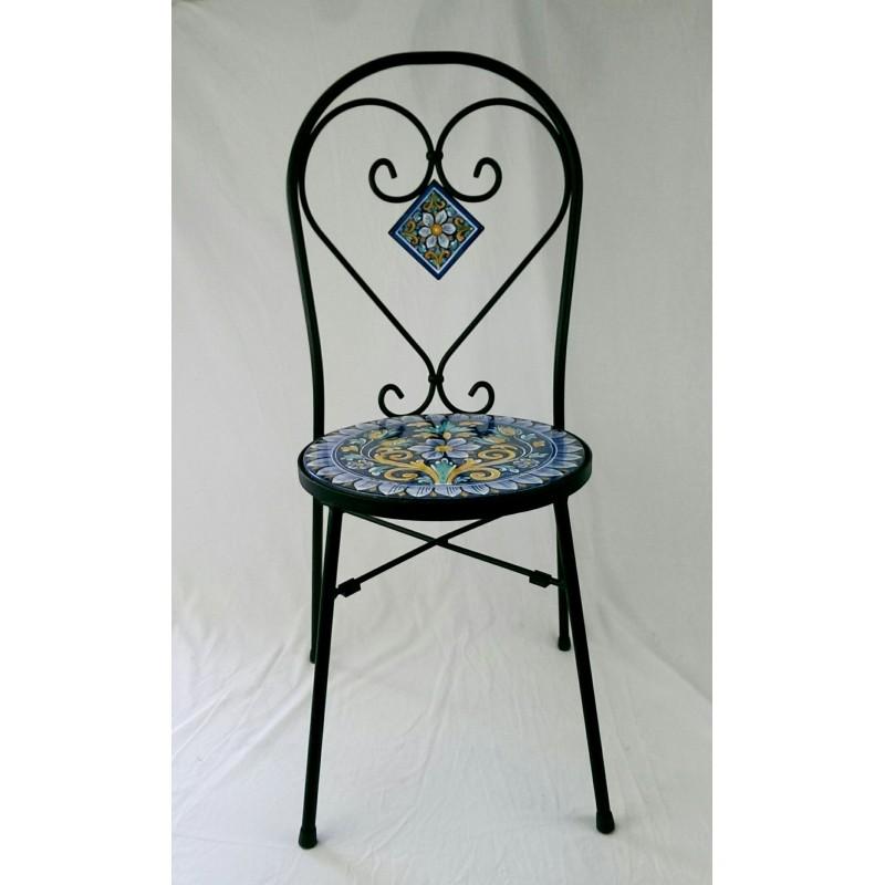 Sedia in ferro battuto con seduta Tonda in pietra lavica