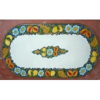 Tavolo Ovale in Pietra Lavica 160 x 80 cm - Frutta fondo Blu