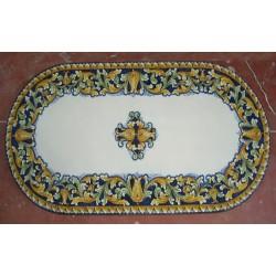 Tavolo Ovale in Pietra Lavica 180 x 90 cm - Ornato Blu