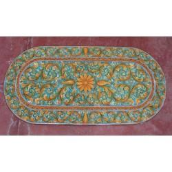 Tavolo Ovale in Pietra Lavica 220 x 110 cm - Ornato Verde