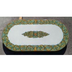 Tavolo Ovale in Pietra Lavica 200 x 100 cm - Ornato fondo Verde