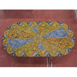 Tavolo Ovale in Pietra Lavica 240 x 120 cm - Intrecciato