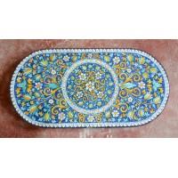Tavolo Ovale in Pietra Lavica 220 x 110 cm - Fiore Blu