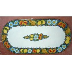 Tavolo Ovale in Pietra Lavica 200 x 100 cm - Frutta fondo Blu