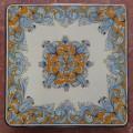 Tavolo quadrato in pietra lavica 70x70 cm. - Barocco arancio