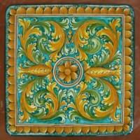 Tavolo quadrato in pietra lavica 100x100 cm. - Ornato verde