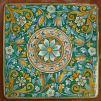 Tavolo quadrato in pietra lavica 90x90 cm. - Fiore verde