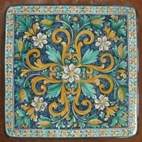 Tavolo quadrato in pietra lavica 80x80 cm. - Fiore blu