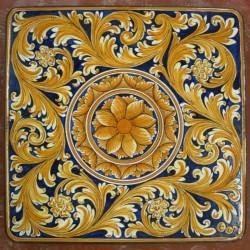 Tavolo quadrato in pietra lavica 100x100 cm. - Ornato Giallo e Blu