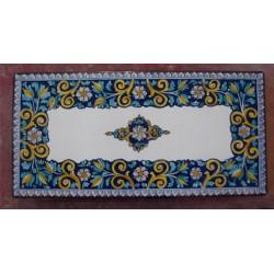 Tavolo Rettangolare in Pietra Lavica 180 x 90 cm - Fiore Blu