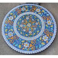 Tavolo Tondo in Petra Lavica diametro 150 cm con sedie - Fiore blu