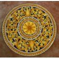 Round  Lava stone Table diameter 120 cm - Ornato Giallo e Blu