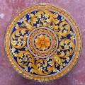 Round  Lava stone Table diameter 110 cm - Ornato Giallo e Blu