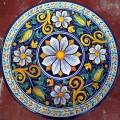 Tavolo Tondo in Pietra Lavica diametro 60 cm - Fiore blu