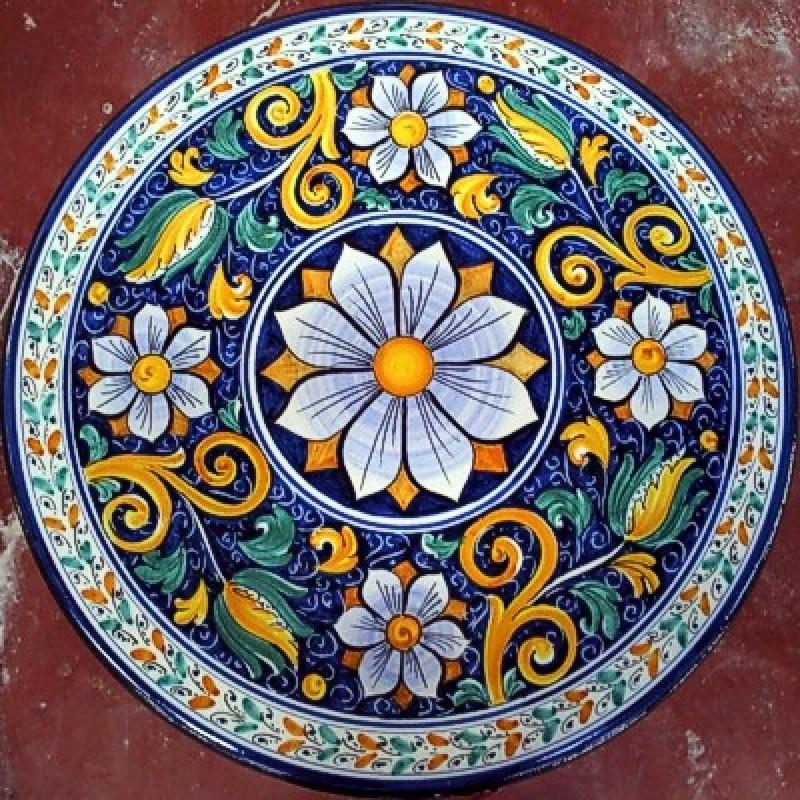 Tavolo Tondo Diametro 80.Tavolo Tondo In Pietra Lavica Diametro 60 Cm Fiore Blu
