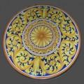 Round  Lava stone Table diameter 70 cm - Ornato Giallo e Blu