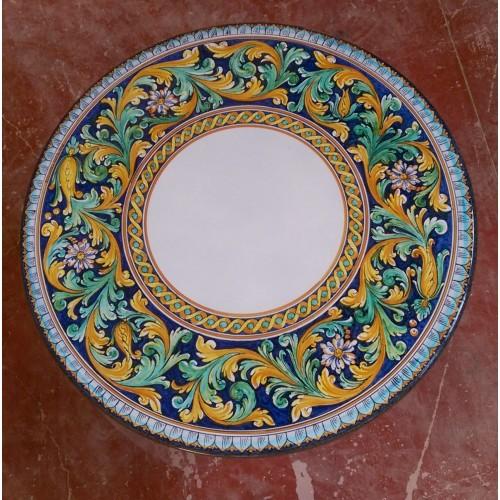 Tavolo Tondo in Pietra Lavica diametro 100 cm -  Ornato settecentesco