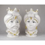 Couple of Heads in ceramics h. 43 cm - White and Gold