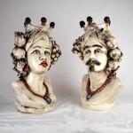 Couple of Heads in ceramics h. 45 cm