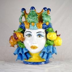 Testa Donna h. 45 cm. limoni e Melograni
