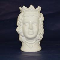 Testa Donna h. 14 cm - Bianco Lucido