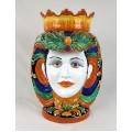 Ceramic Head Woman h. 60 cm. - Ornato Blu